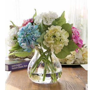 Hortensie Kunstblumen+Glas Vase Set
