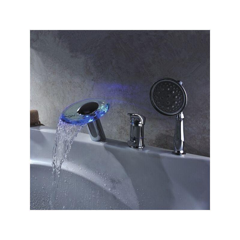ausverkauft eu lager wasserkraft led wasserfall glas badewannenarmatur wasserhahn mit handbrause. Black Bedroom Furniture Sets. Home Design Ideas