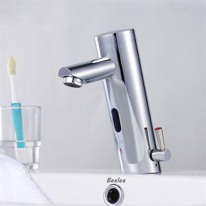 (EU Lager)Zeitgenössische Messing Bad Waschtischarmatur mit automatischer Sensor (warm / kalt) - verchromt