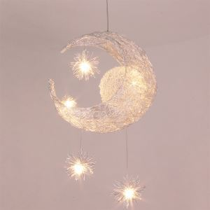 (In Stock) LED Pendelleuchte Mond Stern Design 5 flammig im Kinderzimmer