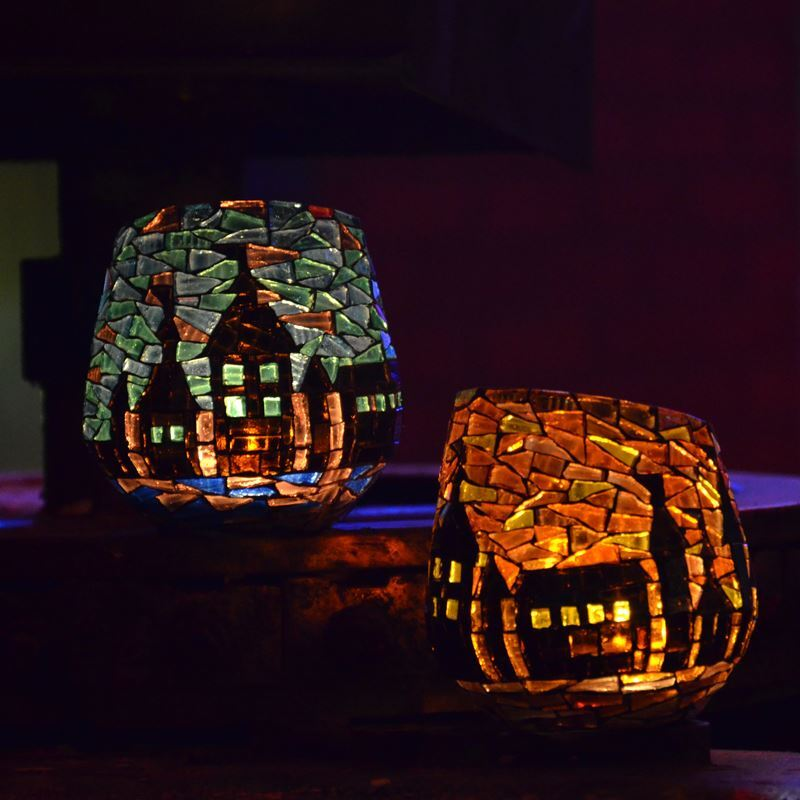 Tiffany handdekorierte teelichthalter windlichter Teelichthalter glas bunt