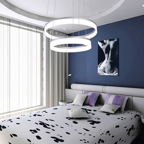sch ne g nstige modern led pendelleuchte polyester schirm mit 2 ringen. Black Bedroom Furniture Sets. Home Design Ideas