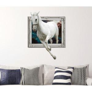 (EU Lager)3D Wandtattoo Weiß Pferd PVC Fototapete
