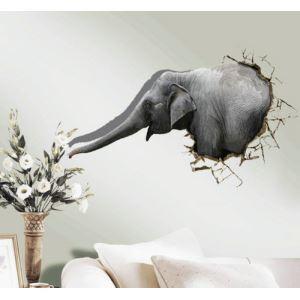 (EU Lager)3D Wandtattoo Elefant PVC Fototapete