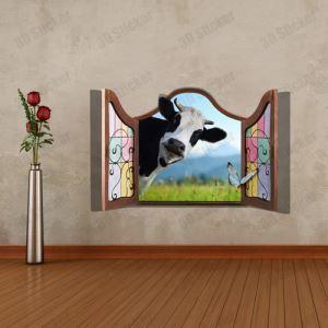(EU Lager)3D Wandtattoo-Milchkuh vor dem Fenster-PVC Fototapete