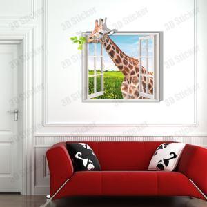 (EU Lager)3D Wandtattoo-Giraffe vor dem Fenster-PVC Fototapete