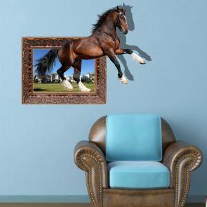 (EU Lager)3D Wandtattoo Pferd PVC Fototapete