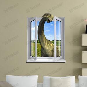 (EU Lager)3D Wandtattoo Dinosaurier im Fenster PVC Fototapete