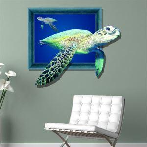 (EU Lager)3D Wandtattoo Meer Fische PVC Fototapete