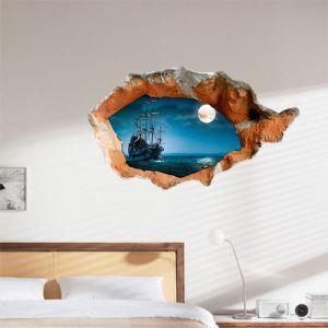 (EU Lager)3D Wandtattoo-See unter Mond-PVC Fototapete
