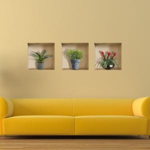 (EU Lager)3D Wandtattoo-Topfpflanze drei Gitter Design-PVC Fototapete