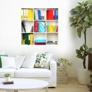 (EU Lager)3D Wandtattoo-Bücherregal in Gitter Design-PVC Fototapete