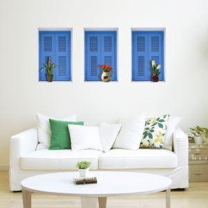 (EU Lager)3D Wandtattoo-Blaue Fenster-PVC Fototapete