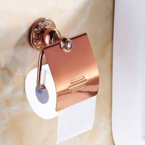 (EU Lager)WC Rollenhalter mit Deckel Rosegold Badezimmer Garnitur