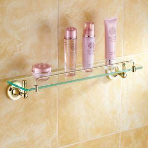 (EU Lager)Badregal Glas Ti-PVD Gold Kupfer Modern Badezimmer Garnitur