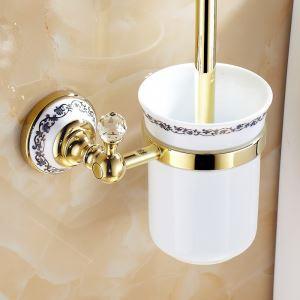 (EU Lager)WC Bürstenhalter Modern Ti-PVD Gold Kupfer Bad-Accessoires