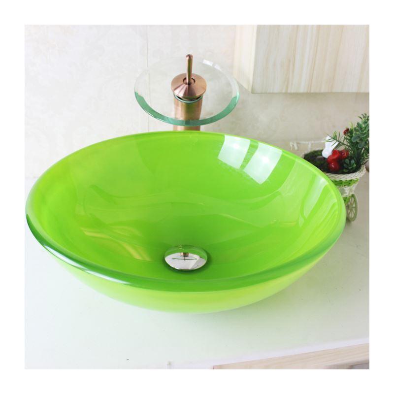 sch nes f r bad modern waschbecken gr n rund glas aufsatz. Black Bedroom Furniture Sets. Home Design Ideas