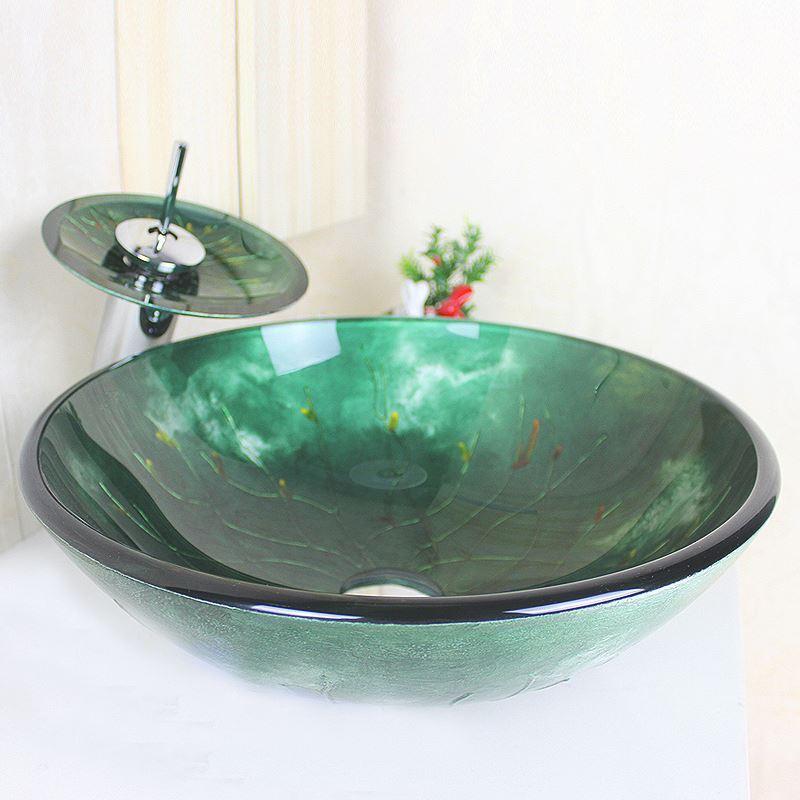sch nes f r bad modern waschbecken dunkelgr n rund glas aufsatz waschschale mit wasserfall. Black Bedroom Furniture Sets. Home Design Ideas