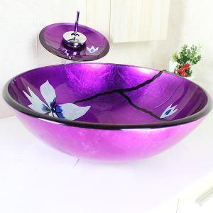 (EU Lager) Modern Waschbecken Lila Rund Glas Aufsatz Waschschale mit Wasserfall Wasserhahn Set