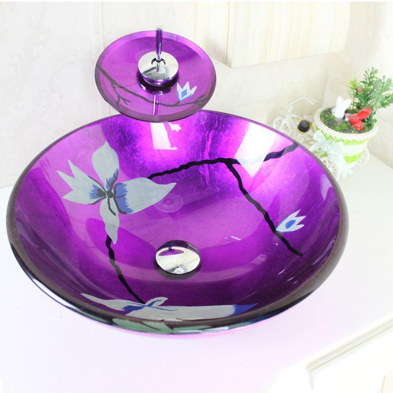 sch nes f r bad modern waschbecken lila rund glas aufsatz. Black Bedroom Furniture Sets. Home Design Ideas