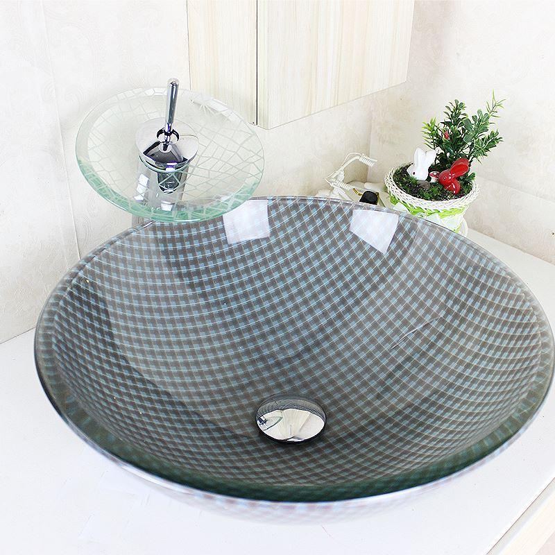 Waschbecken rund glas  schönes für Bad Modern Waschbecken Gitter Rund Glas Aufsatz ...