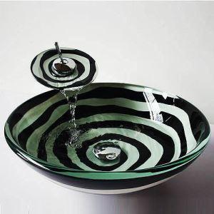 (EU Lager) Modern Waschbecken Schwarz&Weiß Rund Glas Aufsatz Waschschale mit Wasserfall Wasserhahn Set