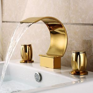 Waschtisch Armatur Ti-PVD Gold Wasserfall Wasserhahn Zweihebel