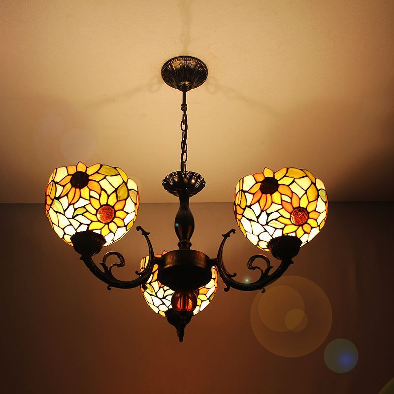 G nstig tiffany kronleuchter antik landhaus stil sonnenblume muster lampenschirm 3 flammig kaufen - Kronleuchter landhaus ...