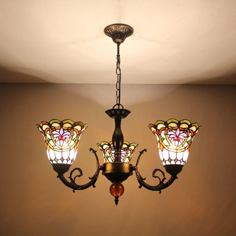G nstig tiffany kronleuchter antik landhaus stil 3 flammig glas lampenschirm kaufen - Kronleuchter landhaus ...