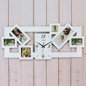 (EU Lager)Wanduhr Modern Design Digital Fotorahmen-Uhr Holz Lautlos