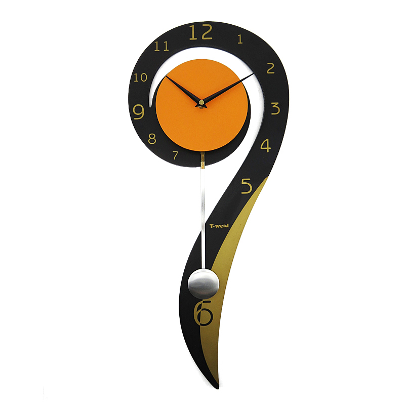 Hausdeko   Deko Uhr   Kreative Wanduhren   (EU Lager)Wanduhr Modern Design  Eisen Pendeluhr Digital Lautlos