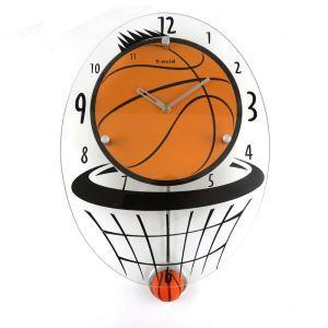 (EU Lager)Wanduhr Modern Design Basketball Glas Lautlos