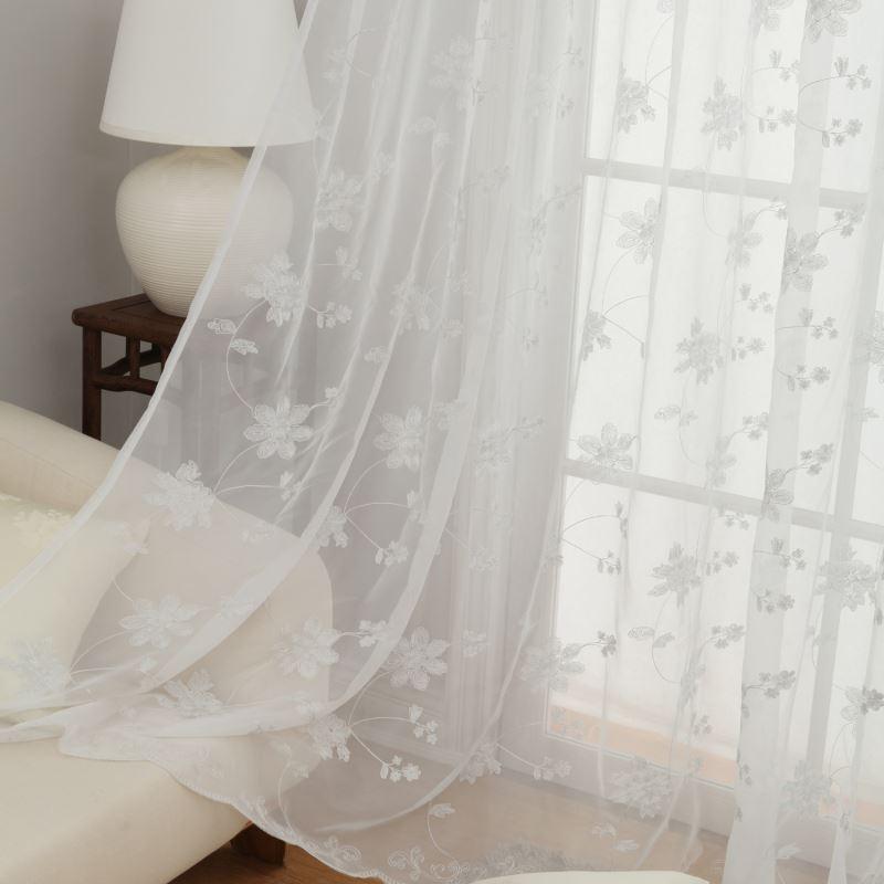 vorh nge transparente gardine gardine wei stickerei polyester 1 st ck. Black Bedroom Furniture Sets. Home Design Ideas