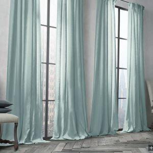 Zeige Details für Vorhang Hellblau Uni Leinen Baumwolle ( 1 Stück )