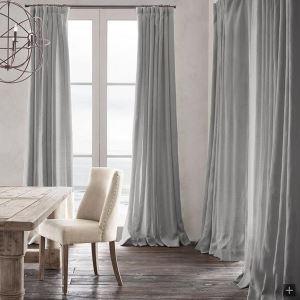 Vorhang Hellgrau Uni Baumwolle ( 1 Stück )