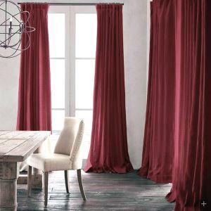 Vorhang Dunkelrot Uni Leinen Baumwolle ( 1 Stück )