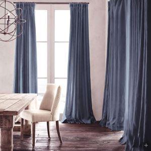 Vorhang Dunkelblau Uni Leinen Baumwolle ( 1 Stück )