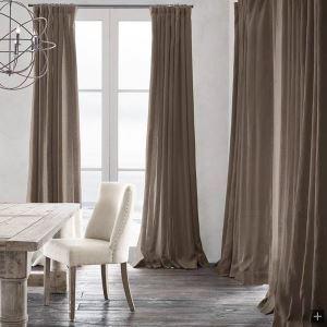 Vorhang Beige Uni Leinen Baumwolle ( 1 Stück )