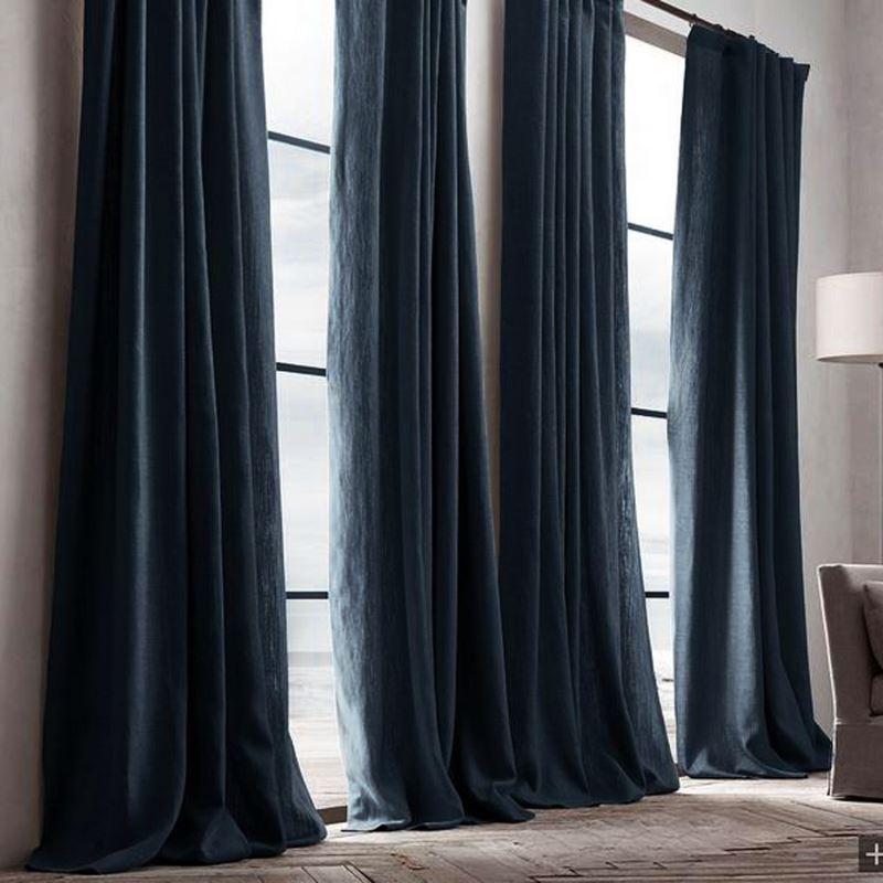vorh nge blickdichte vorh nge vorhang dunkelblau uni leinen baumwolle 1 st ck. Black Bedroom Furniture Sets. Home Design Ideas