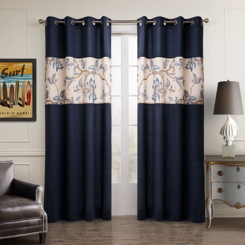 vorh nge verdunkelung gardinen vorhang blau baumwolle. Black Bedroom Furniture Sets. Home Design Ideas