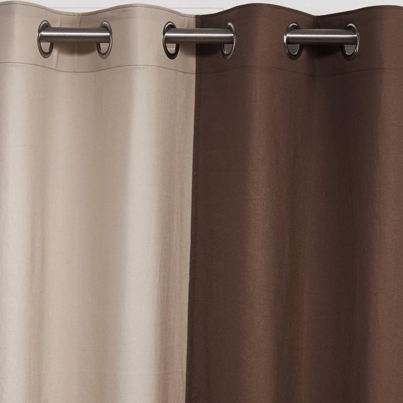 vorh nge verdunkelung gardinen vorhang khaki creme baumwolle leinen 1 st ck. Black Bedroom Furniture Sets. Home Design Ideas