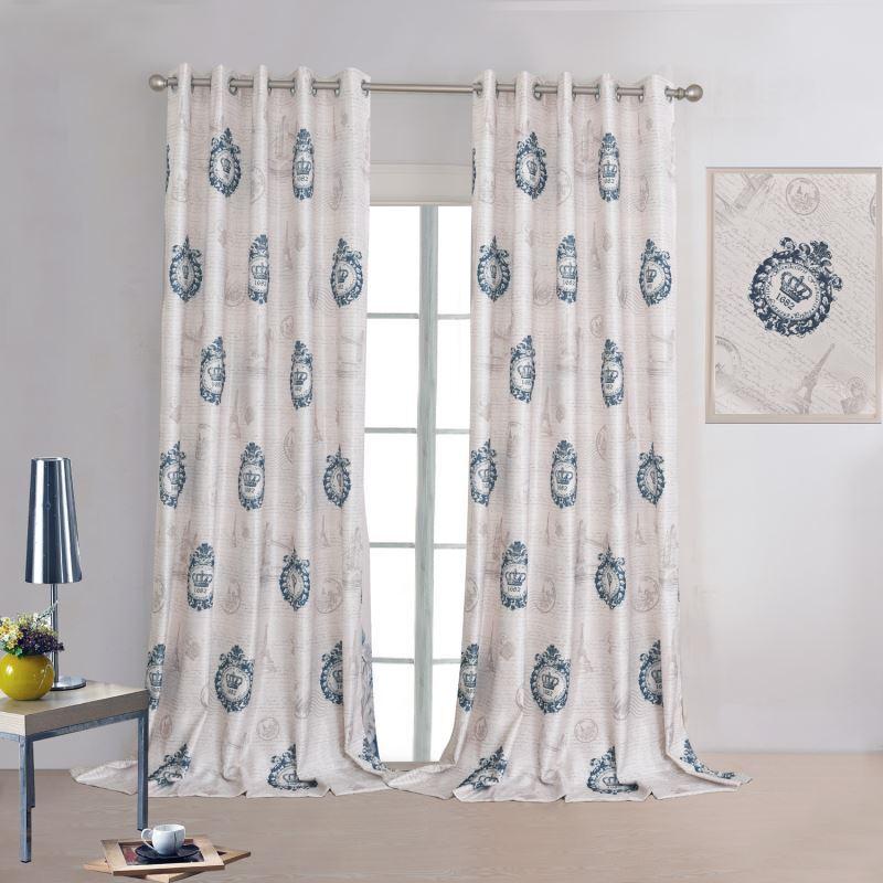 vorh nge verdunkelung gardinen vorhang blau bedruckt. Black Bedroom Furniture Sets. Home Design Ideas