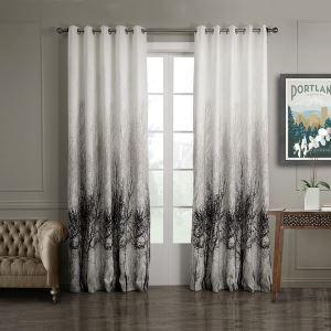 Vorhang Weiß Schwarz Jacquard+Bedruckt Polyester ( 1 Stück )