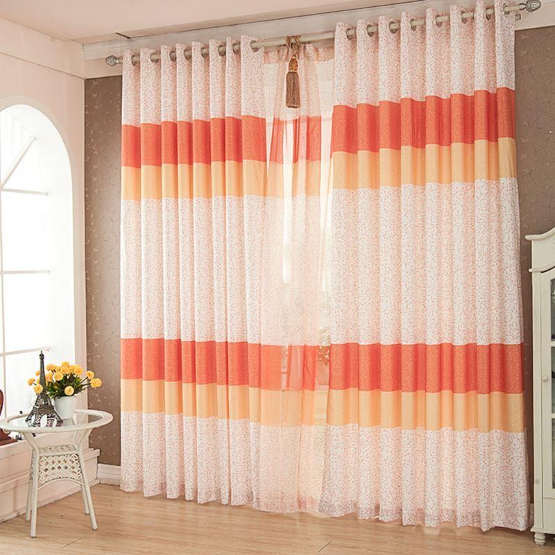 vorh nge verdunkelung gardinen vorhang orange bedruckt polyester 1 st ck. Black Bedroom Furniture Sets. Home Design Ideas