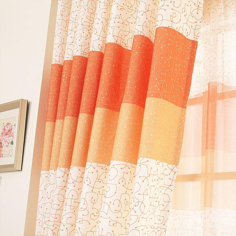 vorh nge verdunkelung gardinen vorhang orange bedruckt. Black Bedroom Furniture Sets. Home Design Ideas