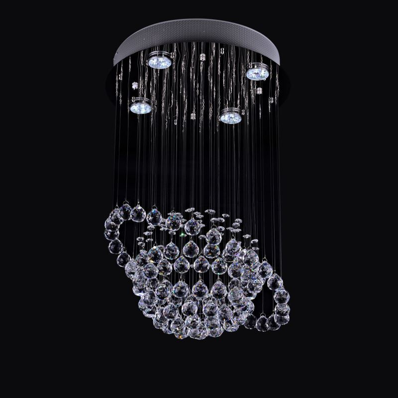 ausverkauft eu lager modern deckenleuchte kristall chrom 4 flammig rund. Black Bedroom Furniture Sets. Home Design Ideas