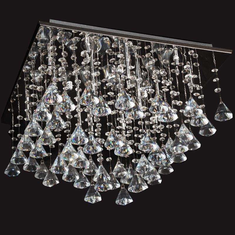 ausverkauft eu lager modern deckenleuchte kristall chrom 16 flammig eckig. Black Bedroom Furniture Sets. Home Design Ideas