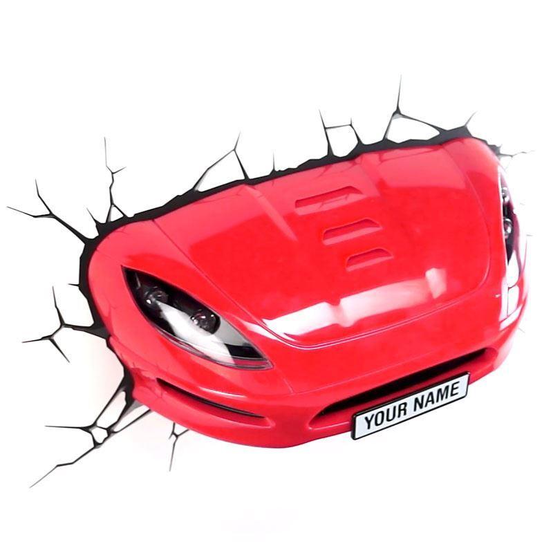 (EU Lager)3D Wandleuchte LED Modern Rot Rennauto Design