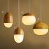 Zeige Details für Moderne Pendelleuchte Holz Aussehen aus Metall Glas
