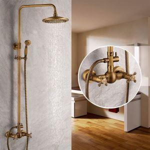 (EU Lager)Antike Messing-Duscharmatur mit 8-Zoll-Duschkopf + Handbrause